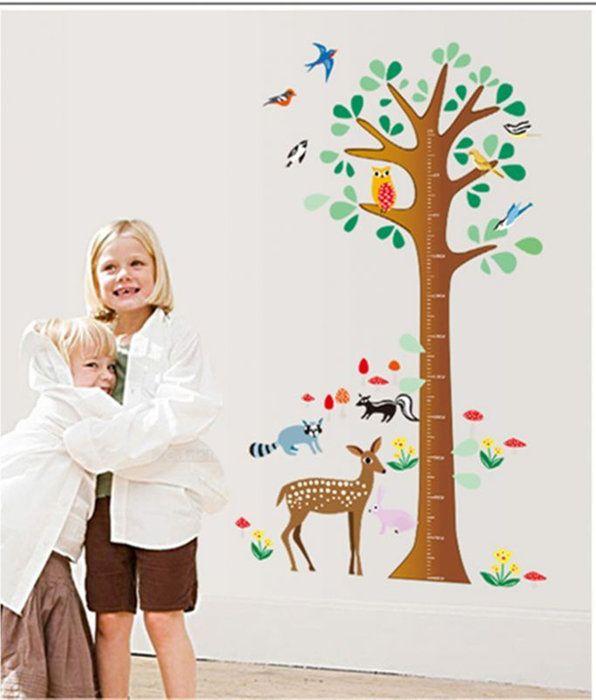 ウォールステッカー【動物の身長測定】身長計背比べツリー鹿リスあらいぐまふくろう