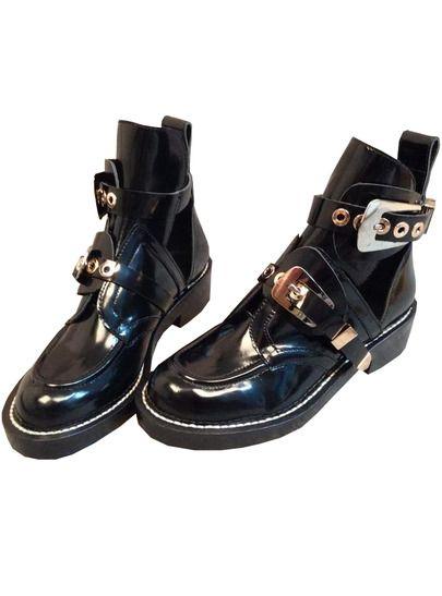 Black Patent PU Motorcycle Boots