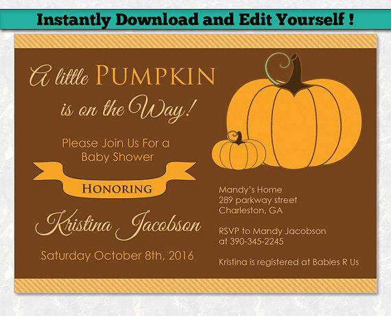 Best Editable Baby Shower Invitation Templates Images On - Fall baby shower invitation templates