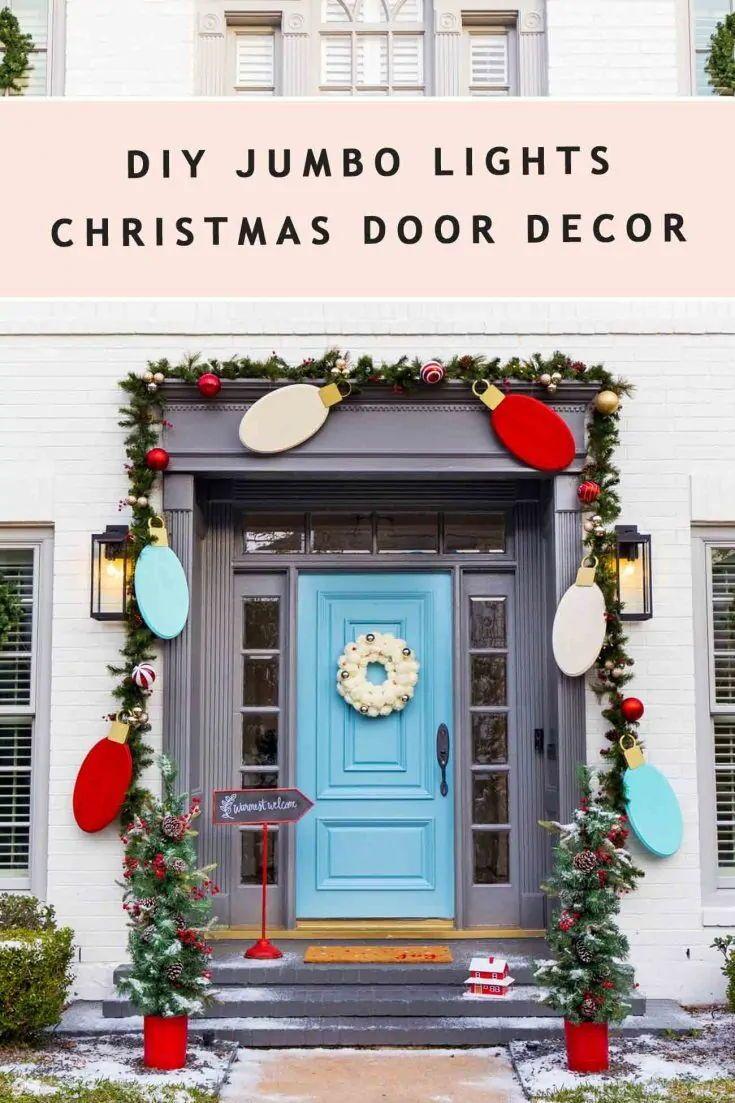 Outdoor Christmas Door Decorations Diy Wood Lights Christmas Garland With Images Christmas Decorations Diy Outdoor Easy Christmas Diy Diy Christmas Decorations Easy
