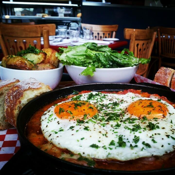 "My favourite brunch - ""Paris breakfast""! Very juicy cherry tomato broth +ham @Cafe Regalade"