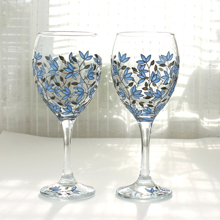 Wine Glasses, Blue Tulips Design, Wedding Glasses, Hand Painted Wine Glasses, Personalized Wine Glasses, Tulip Wine Glasses, Set of 2 by witchcorner on Etsy