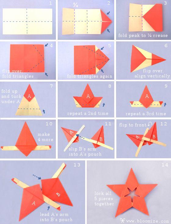 Origami-Stern - Anhänger für Weihnachten