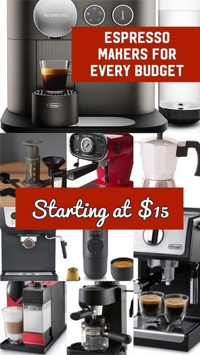 These espresso makers are for any budget- super affordable options starting at 15 bucks and ranging from the 'treat yo self' option of $400. Most of these babies are on sale too! #affiliate #coffee #espresso #giftideas #kitchen