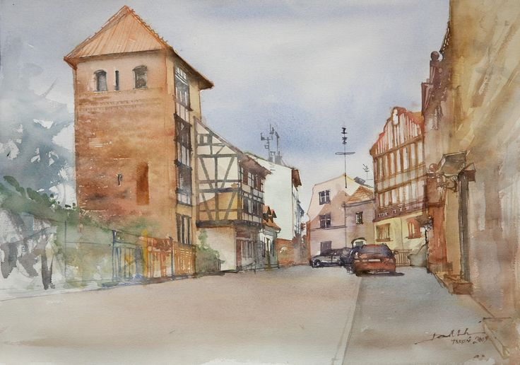 Fachwerk, 36x51cm, 2009 www.minhdam.com #architecture #watercolor #watercolour #art #artist #painting #torun #poland