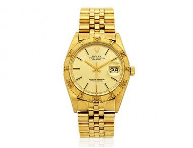 A Gentleman's Gold 'Oyster Perpetual Datejust Thunderbird' Wristwatch, Rolex, circa 1977 « Dupuis Fine Jewellery Auctioneers