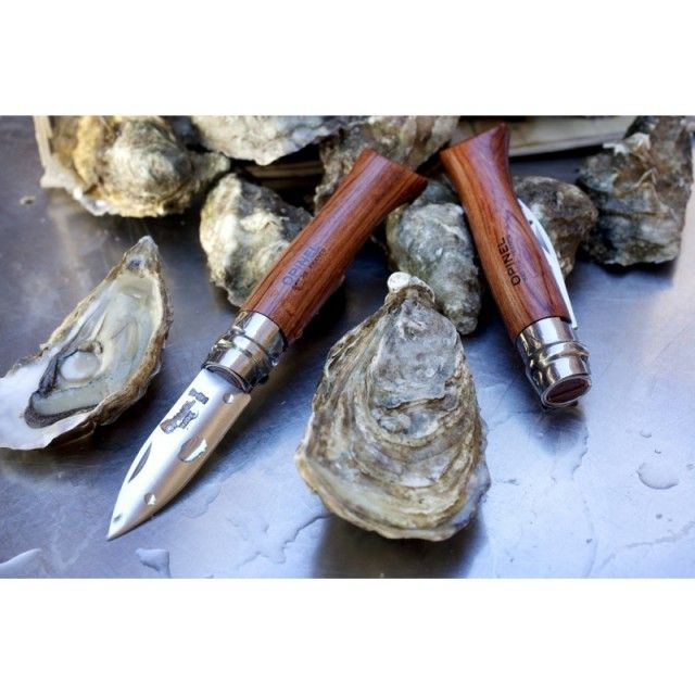 Opinel Stainless Steel Folding Oyster Shellfish Knife with Wooden Handle