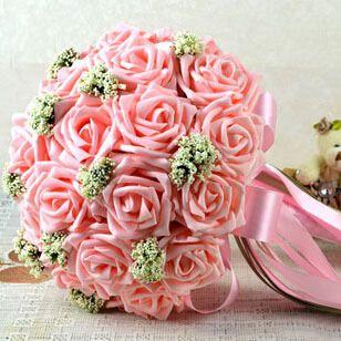 Buquê de casamento bonito nupcial da dama de honra buquê de casamento flor artificial flor vermelha / rosa rose Bouquet buquês de noiva(China (Mainland))