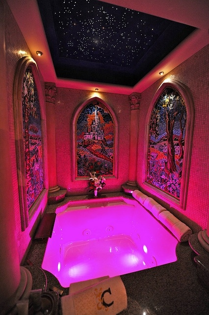 One of the Bathrooms. Stars on the Ceiling? I think so. And I'm in love with the stained glass!