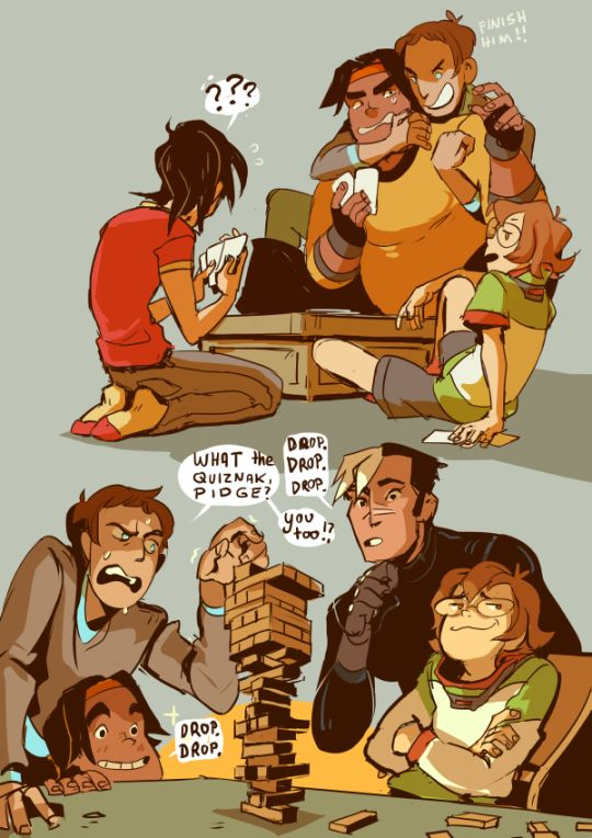 Game night with team voltron and Pidge is unbeateable at Jenga