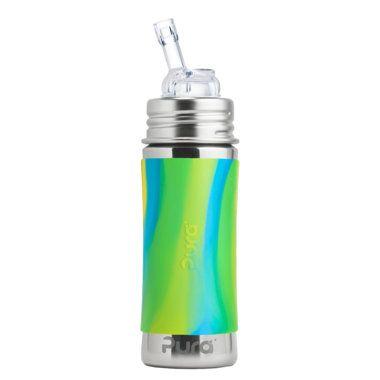 Nerezová fľaša so slamkou Pura 325 ml - Zelená-aqua
