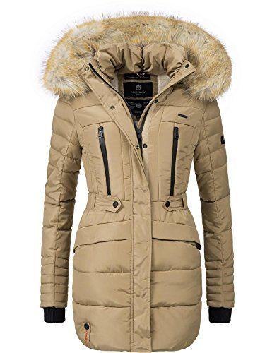 65051db97eaa Marikoo Damen Winter Mantel Steppmantel Nova (vegan hergestellt) Beige Gr.  XL