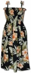 Hibiscus Punch - Hawaiian Print Tube Top Dress in Black