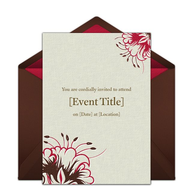 Embossed Flowers Online Invitation from Punchbowl.com
