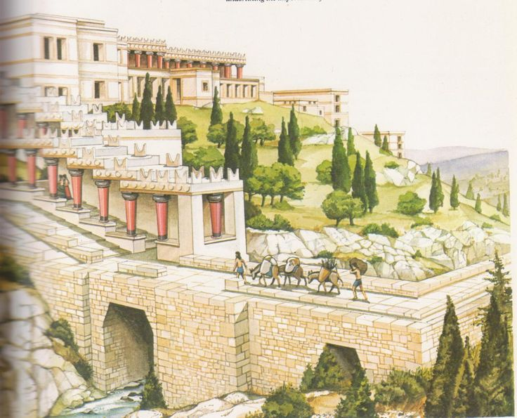 "Palace Of Knossos: Artists Impression. The Palace and it's outlying satellite buildings stand on a rise by the Kairatos Stream, which was massively bridged to bring the main track from the south into the precincts. The ""Horns of Consecration"" are an ever present decorative feature underlying the importance of the bull cult."