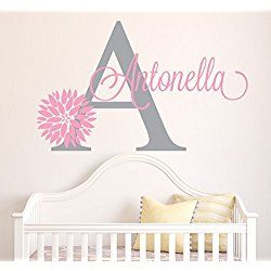 Personalized Flowers Name Wall Decal - Girls Kids Room Decor - Nursery Wall Decals - Flower Decals for Girls Room (40Wx22H)
