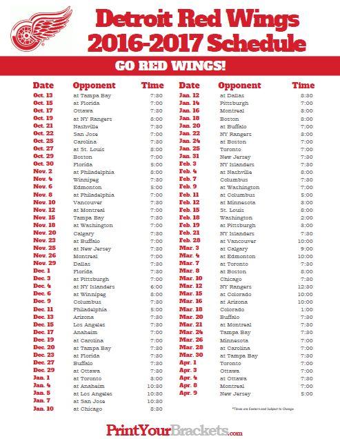Printable Detroit Red Wings Hockey Schedule