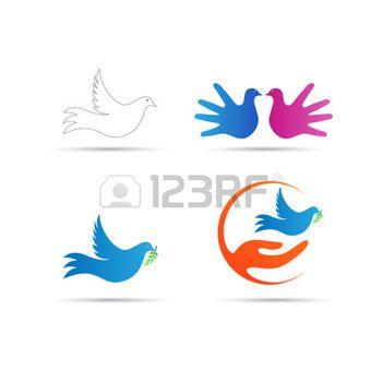 paz mundial: Diseño del logotipo del vector de la paloma representa la paz mundial y elementos de diseño creativos.