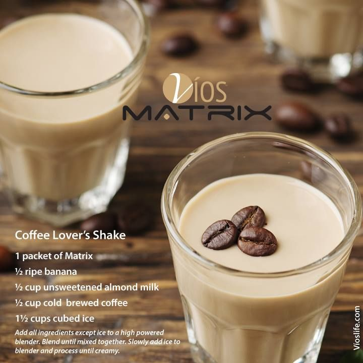 Coffee Lover's Shake 1 packet of Matrix 1/2 ripe banana 1/2 cup unsweetened almond milk 1/2 cup cold brewed coffee 1 1/2 cups cubed ice  Add all ingredients except ice to a highly powered blended. Blend until mixed together. Slowly add ice to blender and process until creamy. #viosmatrix #vioslife #smoothie #mealreplacement #greens #nutrition #nutrients #vegetablebased #protein #drink