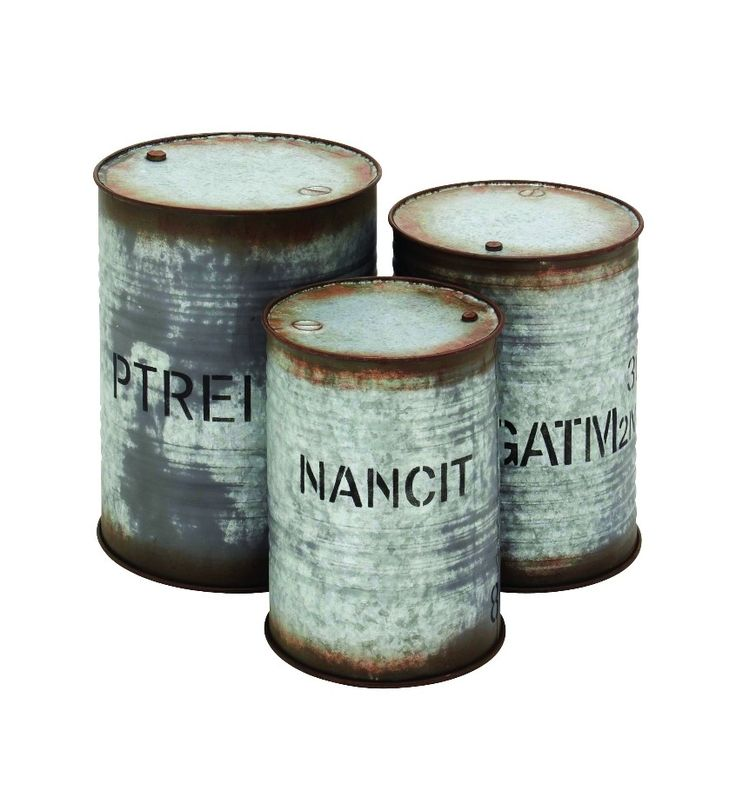 Rustic Set Of 3 Drum Shaped Tables Galvanized Metal Patio