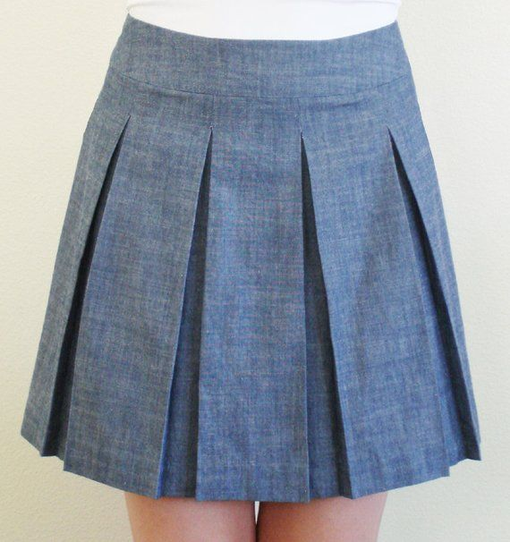 High Waist Chambray Denim Pleated Skirt Etsy Pleated Skirt Pattern Pleated Skirt Pleated Skirt Short