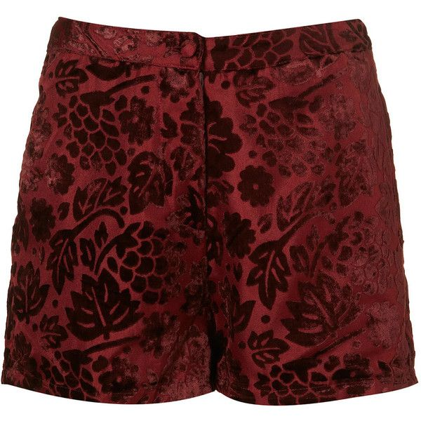 Floral Devore Shorts (£20) ❤ liked on Polyvore featuring shorts, bottoms, pants, short, women, floral printed shorts, short shorts, floral shorts, flower print shorts and burgundy shorts