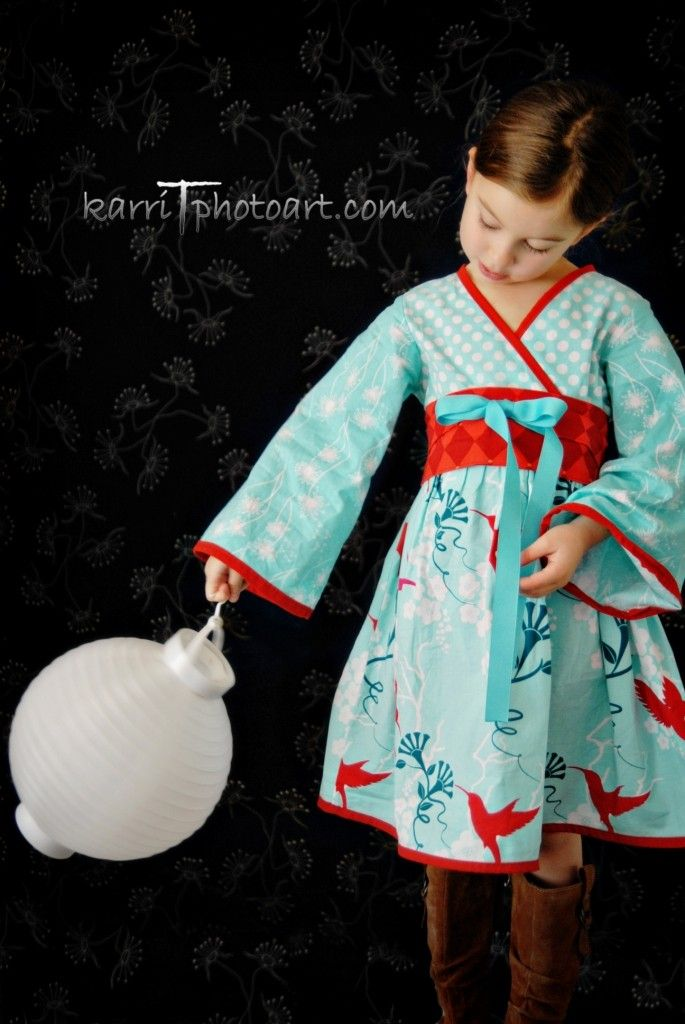 Asian Inspired Aqua Hummingbird Kimono Dress by SunLoveShirts
