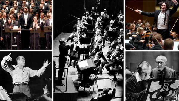 Clockwise from top right: Gustavo Dudamel leading the Los Angeles Philharmonic 1n 2010; the violinist Isaac Stern, left, with George Szell, conductor of the Cleveland Orchestra, in 1962; Leonard Bernstein with the New York Philharmonic in 1969; Eugene Ormandy of the Philadelphia Orchestra in the 1940s; and Riccardo Muti with the Chicago Symphony Orchestra last year. By JAMES R. OESTREICH