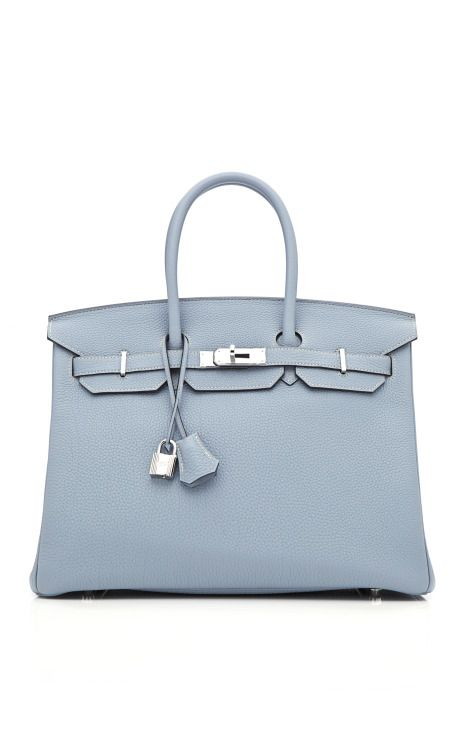 Hermes 35cm Blue Lin Clemence Leather Birkin at Moda Operandi