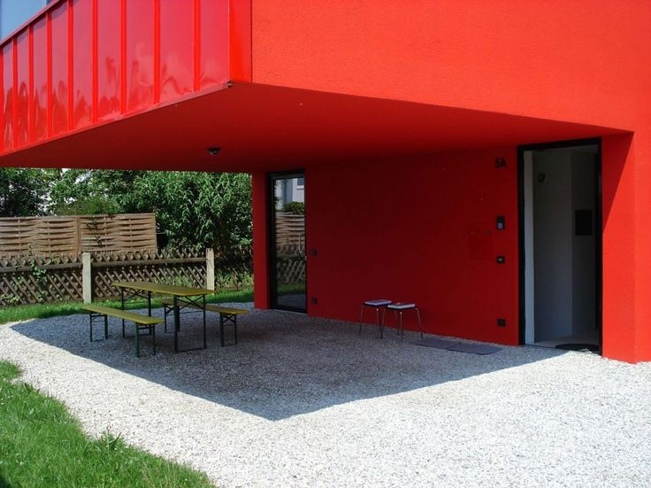 Exterior, Lovely Simple House V In Upper Bavaria Nearby Munich By Munich Based Studio Feturing Cool Yard Architecture With Red Exterior Wall And Lawn: Stunning Red Exterior Design Reflected in Catchy House V in Germany