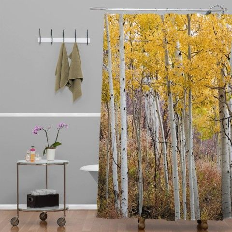 Amazon.com - DENY Designs Barbara Sherman Golden Aspens Shower Curtain, 69 by 72-Inch - Brown Woven Shower Curtain
