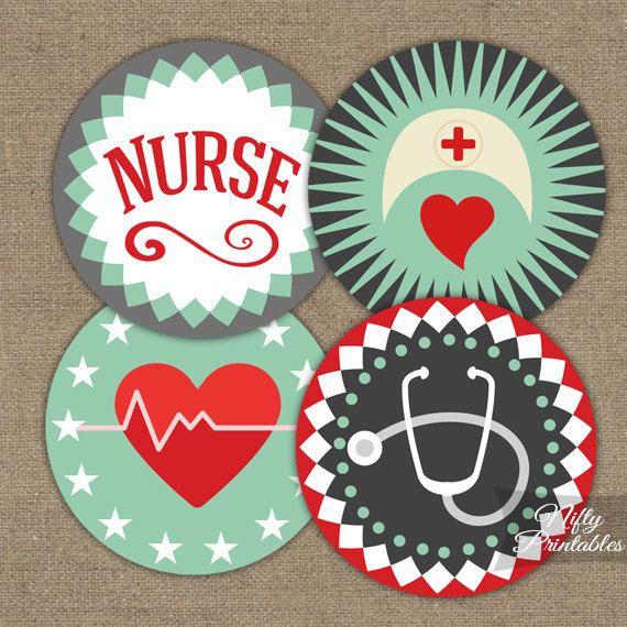 Nurse Cupcake Toppers - Nursing Printables - Mint Green Red & Gray Nursing Decorations - LPN RN Nurse Favor Tags