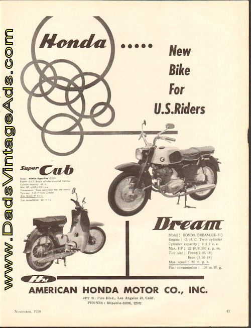 1959 Vintage Motorcycle Ad Honda Dream And Super Cub