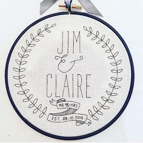Wedding Embroidery Hoop 6 Hoop Embroidery Art by imakethingsuk