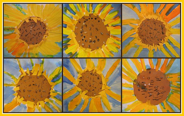 "art project to go along with ""Van Gogh and the Sunflowers"" by Laurence Anholt"