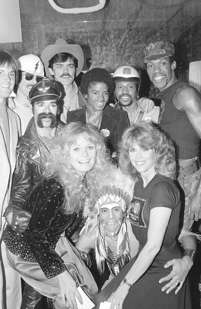 U.S. Village People, Valerie Perrine, Bruce Jenner & Michael Jackson at Studio 54, NYC, for the 'Cant Stop The Music' party, 1980 (shortly before Studio 54 was closed).