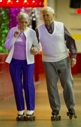 """Joyce, 89, and Arthur George, 90, still enjoy their life-long passion of roller skating. The couple teach rollerskating at Scooters in Mississauga [Ontario, Canada]."" • by Isabel Teotonio • photo: Bernard Weil / Toronto Star"