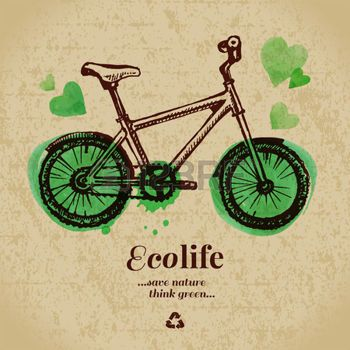 bike concept: Sketch watercolor ecology poster. Hand drawn vector illustration