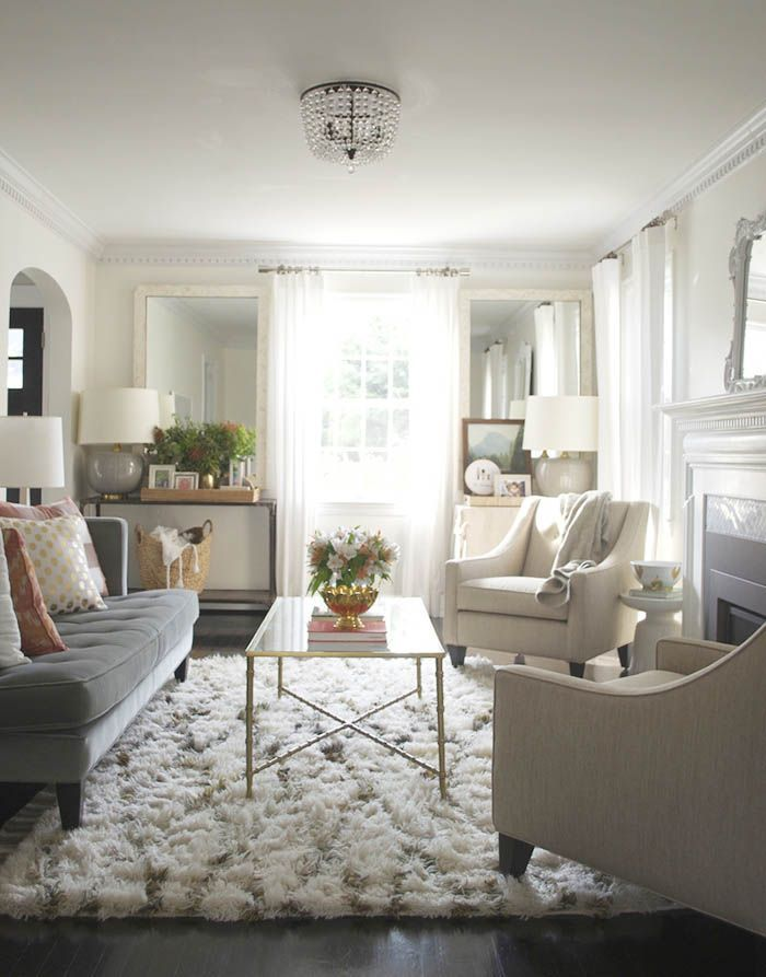 living room with window sheers made of light fabrics