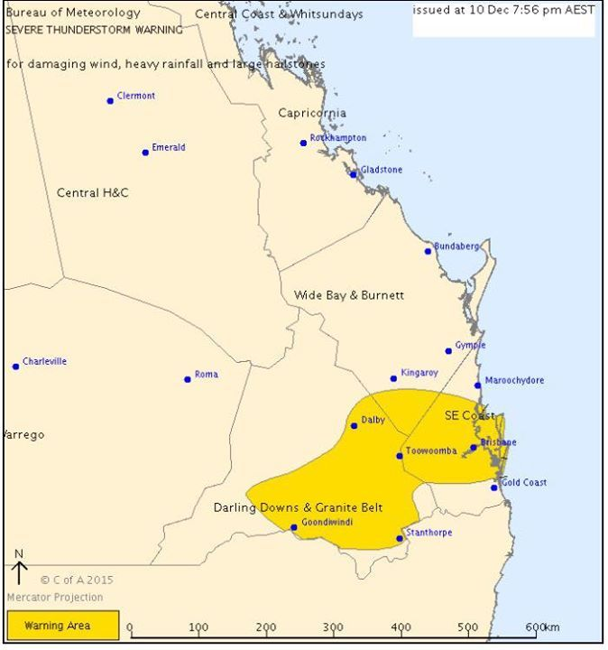 WEATHER ALERT  Apparently we need to realise there's a storm happening outside. (Yes BoM I think we worked it out.)  Keep up to date on our emergency page: http://ift.tt/1SpZGUZ   SHARE THIS POST.   Threat Level YELLOW  QLD Severe Thunderstorm Warning: Large Hail Heavy Rain Damaging Winds   Source: Bureau of Meteorology  Issued at 7:56 pm Thursday 10 December 2015.  Severe thunderstorms are likely to produce damaging winds heavy rainfall that may lead to flash flooding and large hailstones…