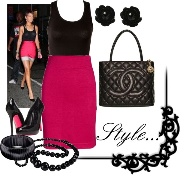 """""""HOT Pink Skirt"""" by gl0ry on Polyvore"""
