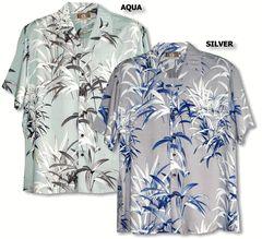 100% Rayon, RJC Brand - Kalaheo Label,  Made in Hawaii. Bamboo Garden Men's Hawaiian Tropical print created in *Silver, Cream and Aqua. MauiShirts search box stock number: 258-R58