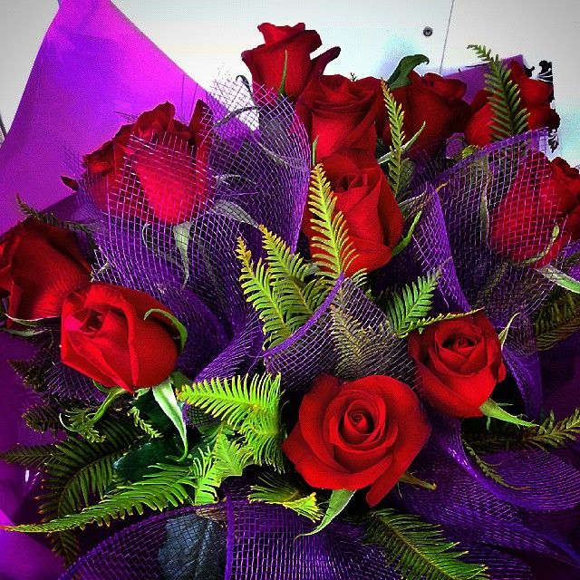 Red Rose Bouquet with Purple Wrap