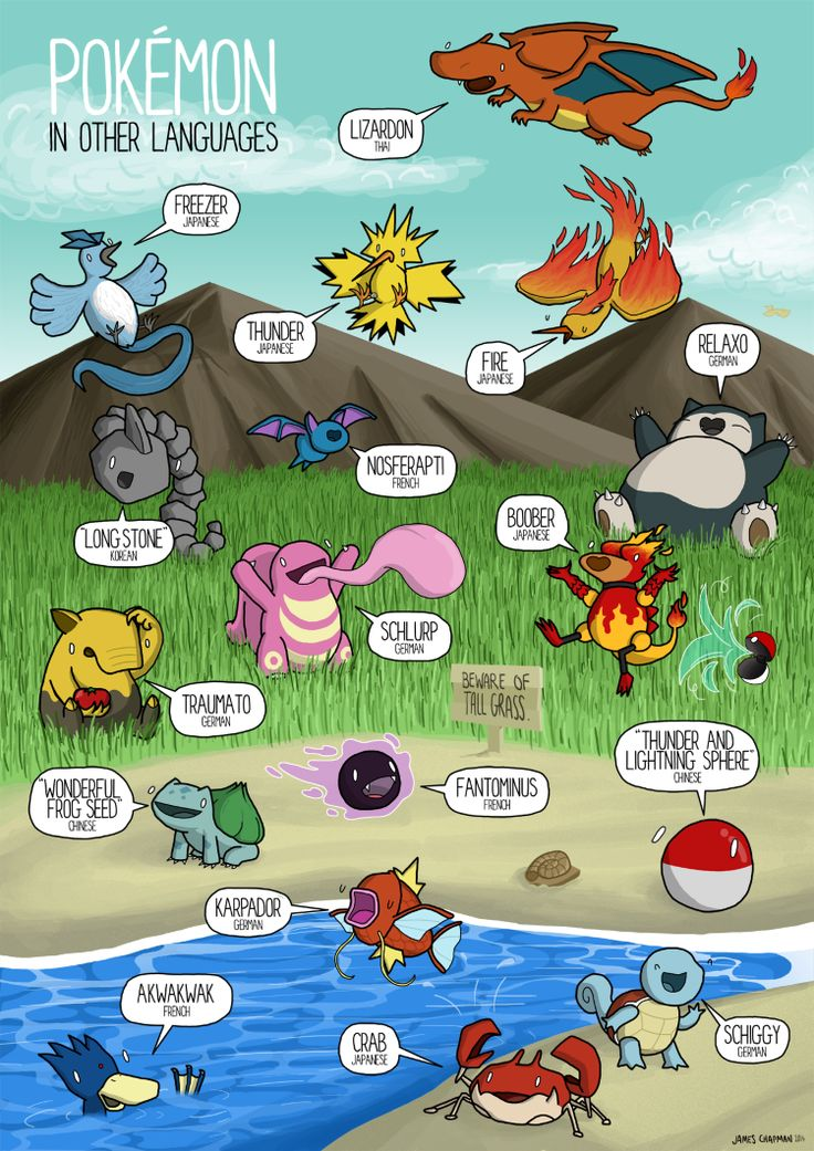 """Pokemon in Other Languages"" is an illustration by Manchester-based artist James Chapman (see previously) that features the meaning of various Pokémon names from the Pokémon video game franchise in..."