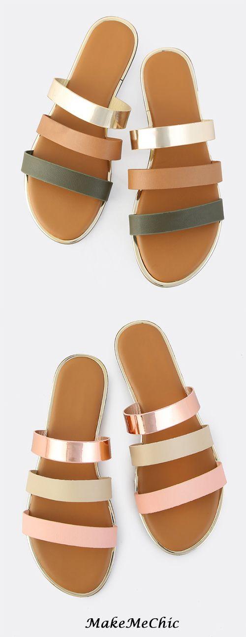Triple Band Slip On Sandals OLIVE