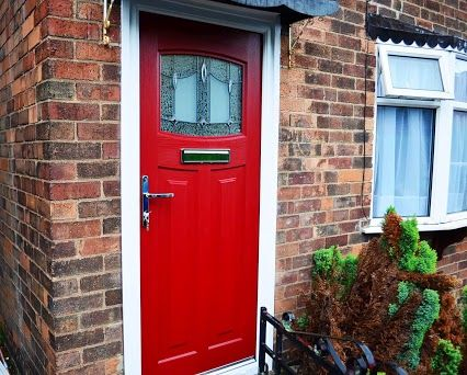 Bright red 1930 39 s style composite door with lantern glass for 1950s front door