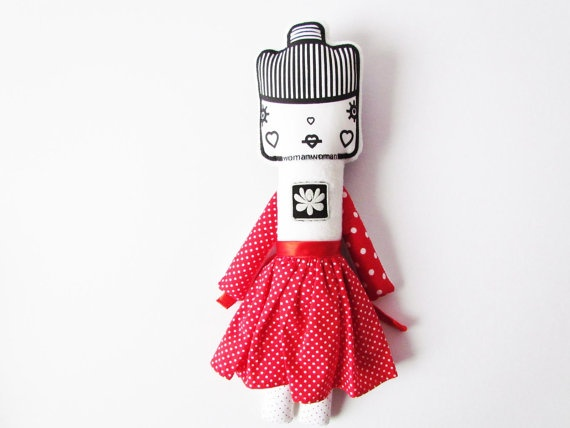 Folk doll Matyo girl stuffed sleeping animal softie by bimbadesign, $39.00