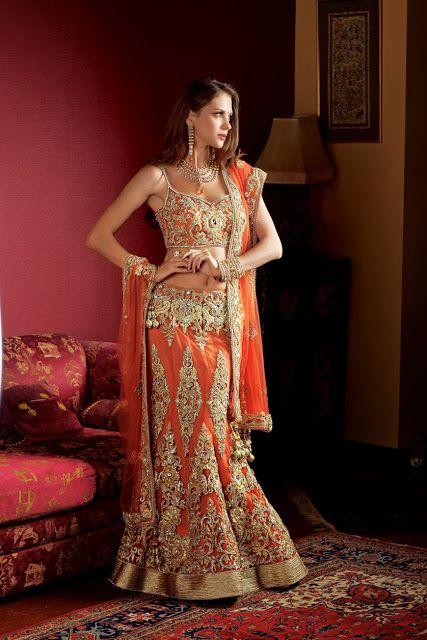 #Orange #Designer #Bridal #LehengaCholi
