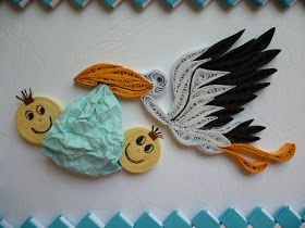 Papírvilág: gólyás üdvözlet / card with quilled stork