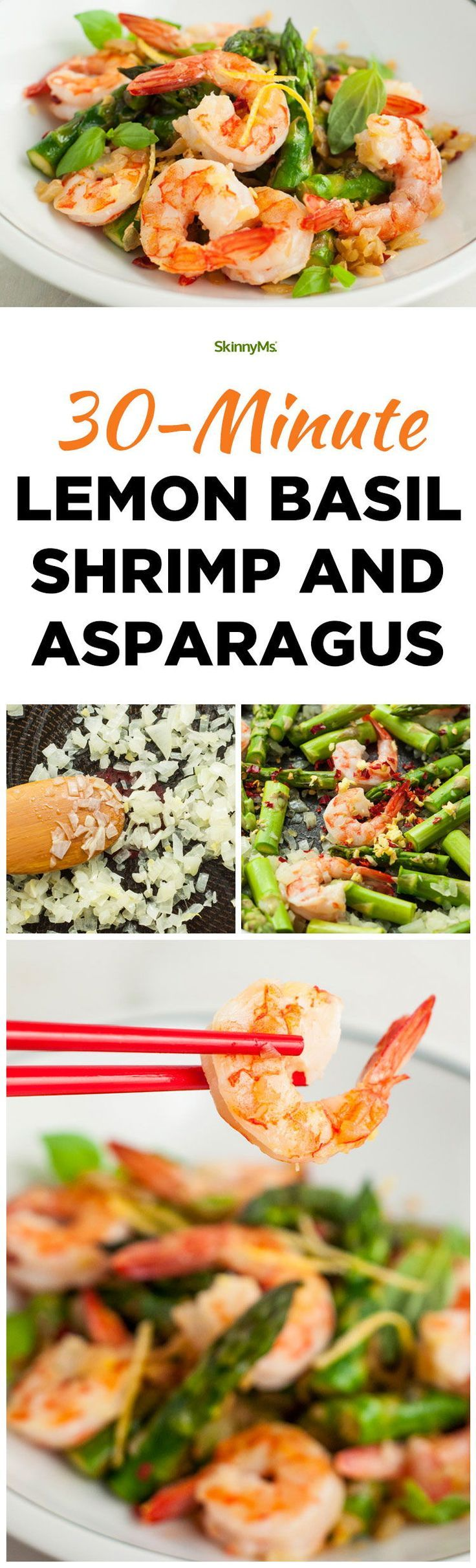 This 30-Minute Lemon Basil Shrimp and Asparagus Recipe is so quick and easy!  #cleaneating #cleaneats #recipe #healthydinneroptions